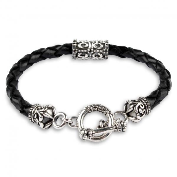 Leder Armband mit Silberverschluss und Fleur de Lis Bead