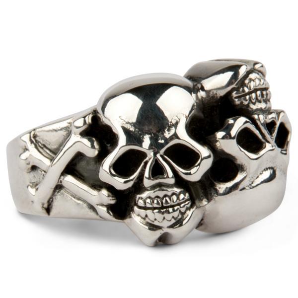 Totenkopf Yin-Yang Ring mit gekreuzten Knochen
