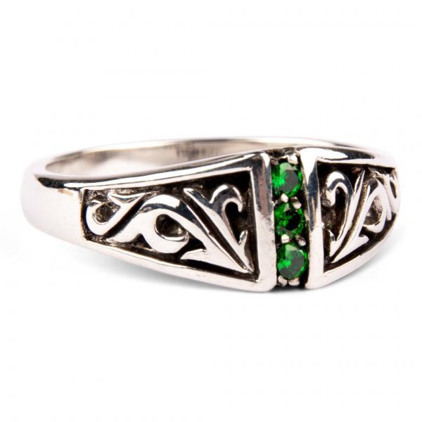 Smaragd-Traum, schmaler verzierter Silberring