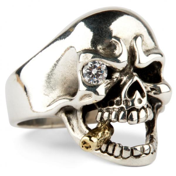 Mafia Totenkopf Ring mit Diamant-Auge und goldener Zigarre