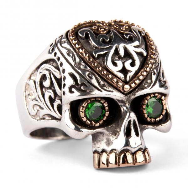 Tribal Skull Ring With Emerald Eyes And HQ Brass Decorations