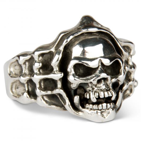 Tobender Vampir Totenkopf Ring - massiv