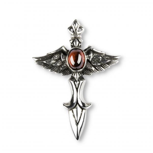 Fliegender Dolch Kreuz Anhänger mit rotem Stein