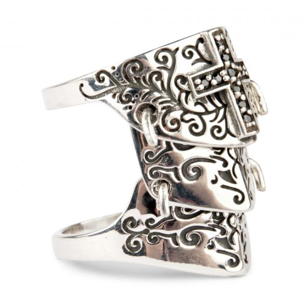 Knight's Armour Ring With Black Gothic Cross