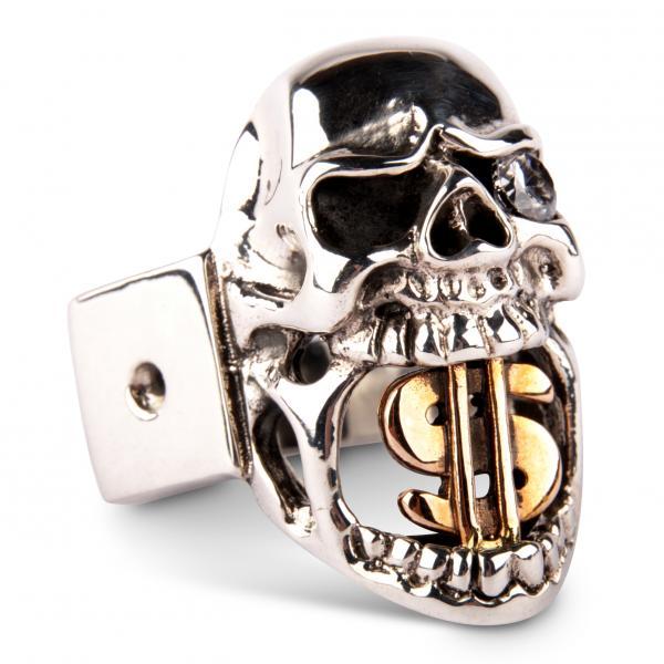 Dollar-Skull Ring mit Zirkonia-Diamant-Auge