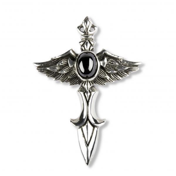Fliegender Dolch Kreuz Anhänger mit schwarzem Stein