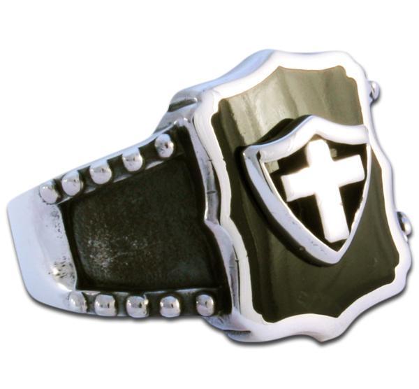 Schwarzer Wappenring Silberkreuz