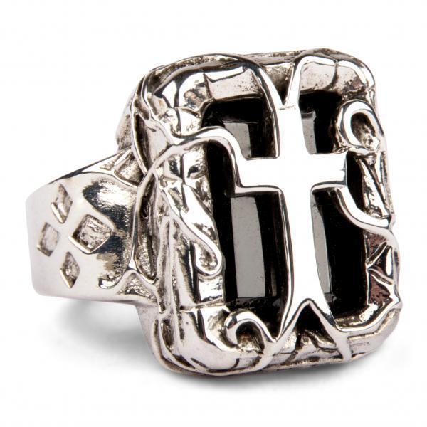 Rankenkreuz Silberring mit großem schwarzen Kristall