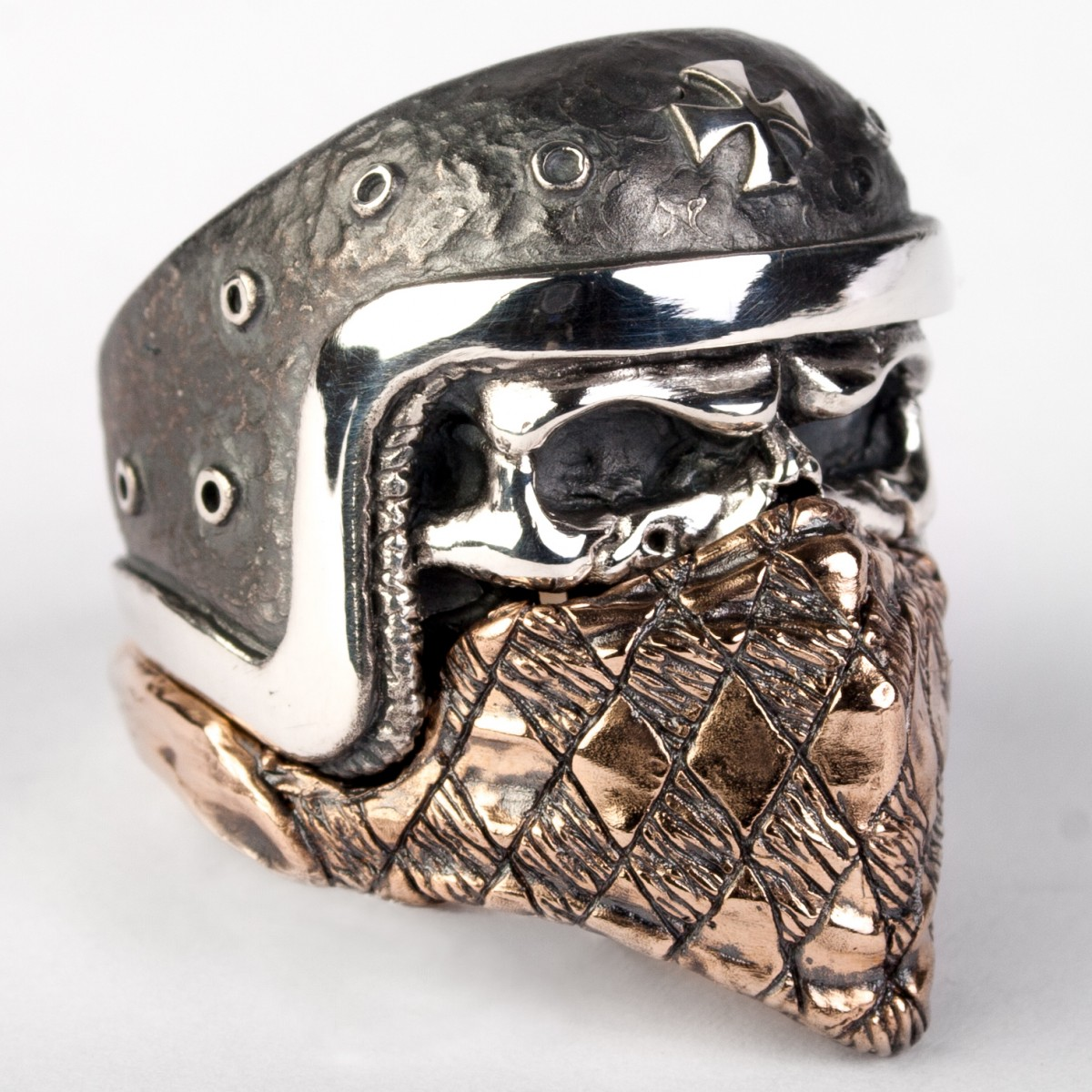 skull ring with an iron cross comes with a